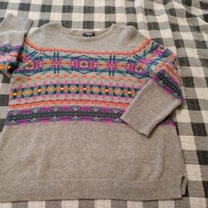 Chaps 2X grey pullover sweater aztec